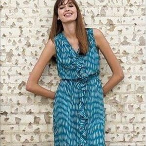 ANTHRO Teal patterned Silk dress with ruffles